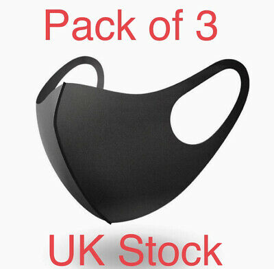 Pack of 3 Washable Face Mask Covering Black Reuseable Anti-Virus Surgical Dust