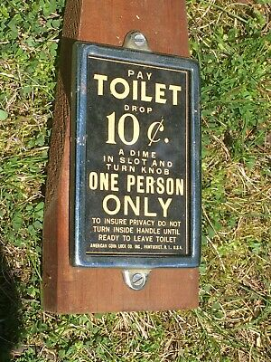 Very Rare Antique Toilet Or Bathroom Sign Coin Operated Toilets