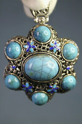Decorative Exquisite Miao Silver Carved Butterfly Inlay Turquoise Noble Pendant