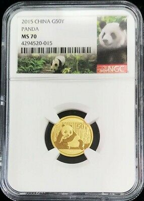 2015 Gold China 50 Yuan Panda 1/10 Oz Coin Ngc Mint State 70