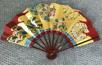 Luxury Sensu Japanese Fan Pine bamboo chrysanthemum wisteria  Antique Retro