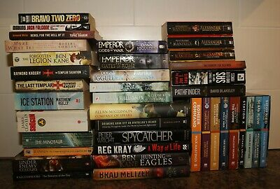 Job Lot 38 Adult Reading Books Historical War Thrillers Ancient Gangs Krays