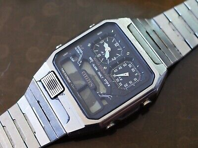 Vintage Citizen ana-digi 8984-086457 Y complete for parts or repair, not working
