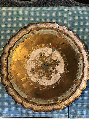 Vintage Round Florentine Tray With 4 Coasters Made In Italy
