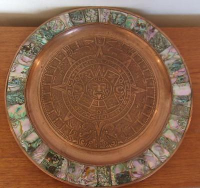 """Vintage Mexican Copper Tray Wall Plaque Abalone Inlay 13.75"""" Mexico"""