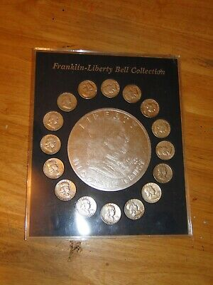 Franklin-Liberty Bell 16 Franklin Half Silver Dollar Coin Collection