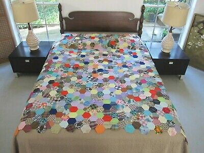 "Vintage Cotton Some Feed Sack Hand Pieced HONEYCOMB Hexie Quilt TOP 72"" Sq Good!"
