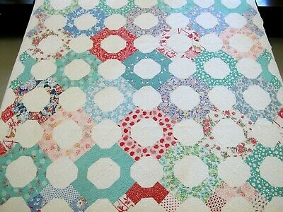 Washed Many Times Vintage Feed Sack BOWTIE OCTAGON Quilt, Machine Quilted; TWIN