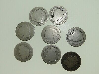 1853 Seated Liberty Dime & (7) Barber Silver Dimes Mixed Years