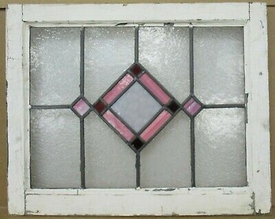 "OLD ENGLISH LEADED STAINED GLASS WINDOW Lovely Pink Diamond 22.75"" x 18.25"""