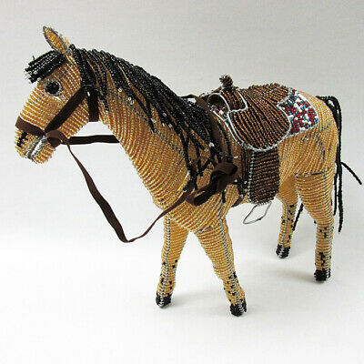 Handcrafted Glass Beaded Western Horse