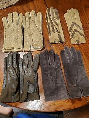 Vintage Aris Womens Leather Gloves Lot Isotoner,  Snuggler L And One size