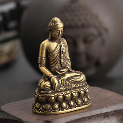 Pure Brass Handwork Carved Sakyamuni Buddha Small Statue Collection 1PC