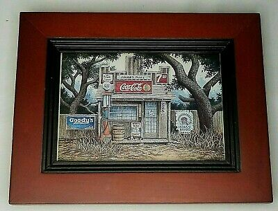 """Coca Cola Advertising """"Junior's Place"""" General Store Framed Print"""