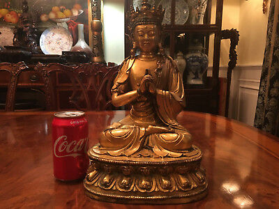 An Excellent Large Chinese Qing Dynasty Gilt Bronze Guanyin Statue, Marked.