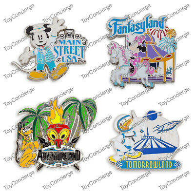 DISNEY Parks PIN TRADING - MICKEY MOUSE & FRIENDS - FOUR LANDS - SET of 4 NEW
