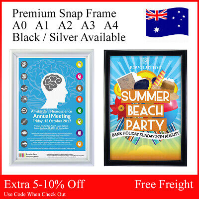 A1 A2 A3 A4 Silver Black Snap Frame Clip Poster Click Picture Sign Holder Square