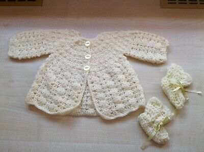 Hand Knitted Baby Cardigan / Matinee Jacket with Booties - Lemon