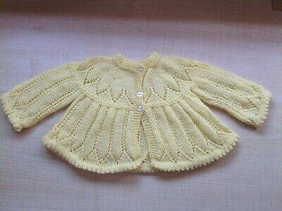 Hand Knitted Baby Cardigan / Matinee Jacket - Lemon