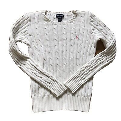 RALPH LAUREN POLO Kids White Cable Knitted Sweater Jumper Size Large 12-14 yrs