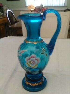 "Fenton  Stunning Blue 9 1/2"" Pitcher With Hand Painted Floral Decorations Signed"
