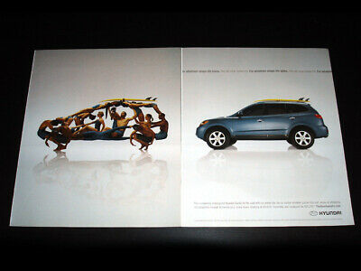 HYUNDAI Santa Fe 2-Page Magazine Print Ad 2007 dancers posed in shape of car