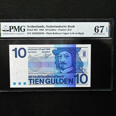 1968 Netherlands 10 Gulden, Pick # 91b, PMG 67 EPQ Superb Gem Unc.