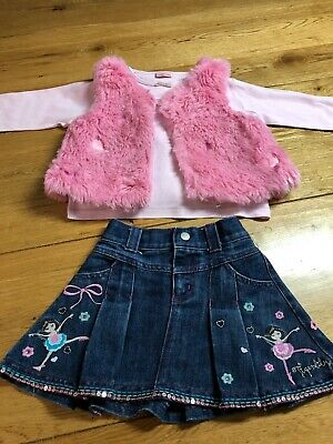 Used Girls Skirt And Fluffy Waistcoat Age 3 Years