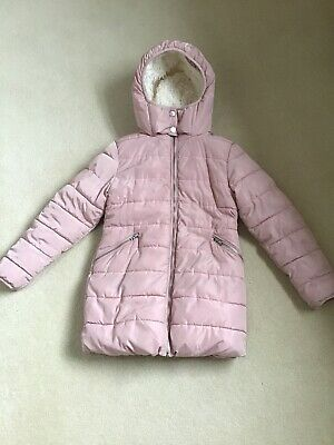 Next Age 9 - Girls Blush, Padded, Thick, Winter, Snow Coat With Creme Faux Fur.