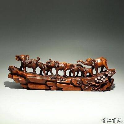 Collectable China Old Boxwood Hand-Carved Elephant Group Delicate Decor Statue
