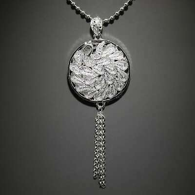 Collectable China Old Miao Silver Hand-Carved Elegant Peacock Decorate Necklace