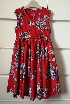 JOULES___red floral corduroy dress girl age 6 yrs (5-6) VGC