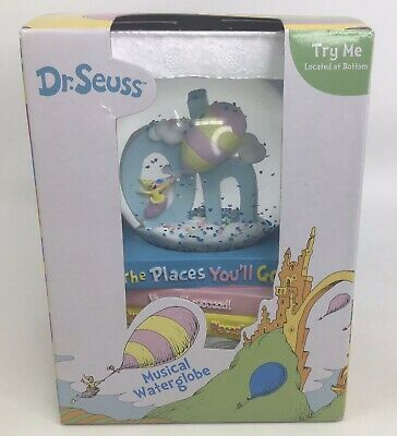 NEW Dr Seuss Musical Snow Globe OH THE PLACES YOU'LL GO! Graduation March Gift