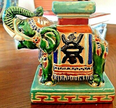 Elephant Vintage Ceramic Bookend Figurine Small Plant Stand Style Green Handmade