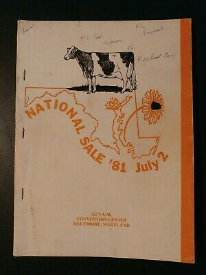 1981 National Holstein Convention Dairy Cattle Sale Catalog - Baltimore Md