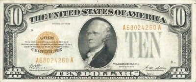 1928 $10 Gold Certificate ~ Bright & Attractive About Uncirculated Note