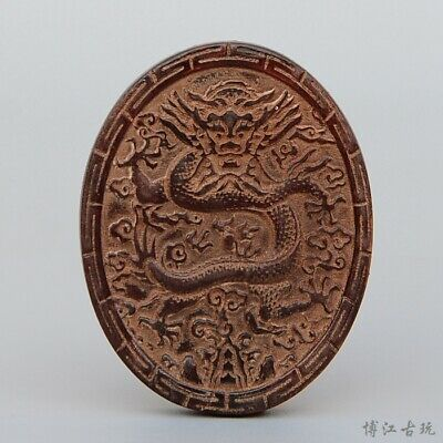 Collectable China Old 0x H0rn Hand-Carved Myth Dragon Moral Auspicious Pendant