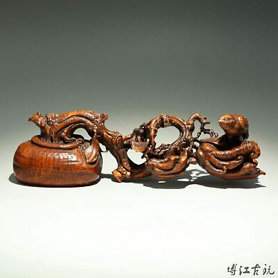 Collect China Old Boxwood Hand-Carved Bird & Tree Branch Delicate Decor Statue