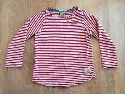 Girls Pink & White Striped Breton Top - Frugi - 3-4 Years