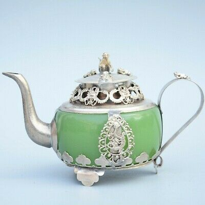 Collectable Old Miao Silver Armour Agate Carve Myth Dragon & Monkey Luck Tea Pot