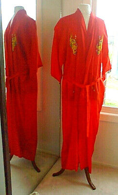 Vintage Golden Bee Red Asian Chinese Kimono Dragon Embroidered Robe