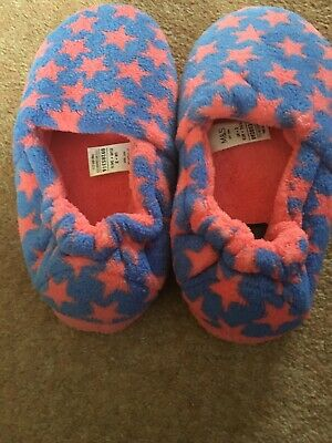 Girls Blue And Pink M&S Slip On Slipper Shoes Size 2 Stars Junior Kids