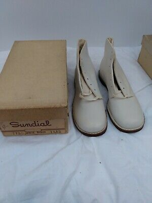 Vintage Sundial White Boot Shoes New Old Stock 1