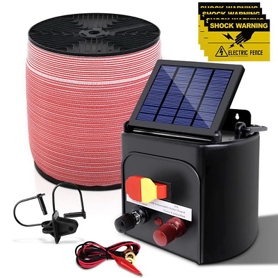 Giantz 5KM Solar Electric Fence Energiser Energizer 0.15J + 2000M Electrical Fen