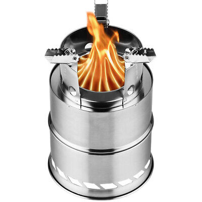 Cylindrical Gasification Wood Burning Camping Stove Outdoor Fishing Survival