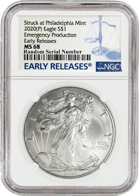 2020 (P) $1 Silver American Eagle NGC MS68 Early Releases ER Live Ready to Ship