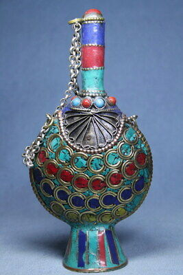 Collectable Ancient Cloisonne Carved Chain Auspicious Beautiful Snuff Bottles