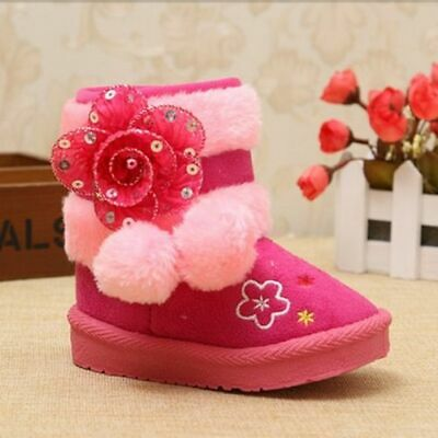 Baby Girls Warm Cotton Shoes Children Snow Boots Kids Princess Boots