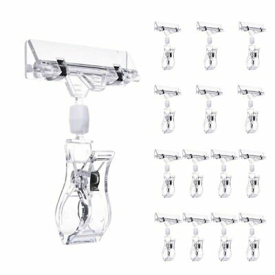15 Pack Plastic Sign Clip Holder Rotatable Merchandise Sign Pop Display Clip