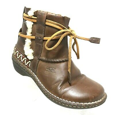 UGG Australia Cove Womens 6 Brown Leather Shearling Ankle Winter Boots